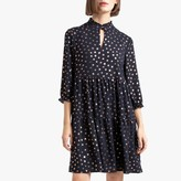 La Redoute Collections Short Metallic Floral Print Dress with High Neck and 3/4 Length Sleeves