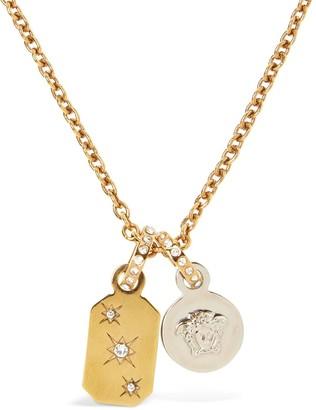 Versace Medusa & Plaque Charm Necklace