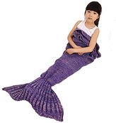 Mermaid Tail Blanket with Ruffles Crochet Warm Living Room Sofa Throws Perfect Christmas gift for Kids 55.18 inch x 27.56 inch (140cm x 70cm) (Purple)