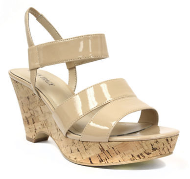 Ellen Tracy Flip Patent Leather Wedge Sandals