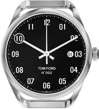 Tom Ford Timepieces Men's Automatic Round Polished Stainless Steel Case, Black Dial, Large