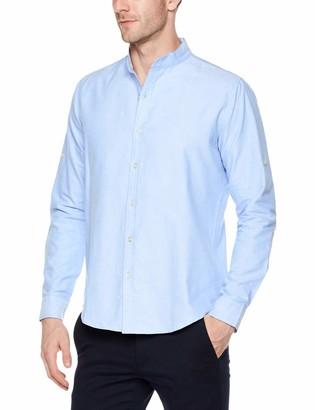 Trimthread Men's Casual Band Collar Regular Fit Long Sleeve Button Up Oxford Work Shirt (Small