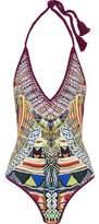 Camilla Crochet-Trimmed Embellished Printed Halterneck Swimsuit