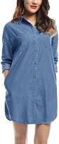 Allegra K Women Drop Shoulder Long Sleeves Loose Denim Tunic Shirt L