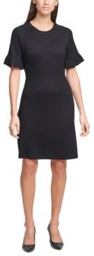 Calvin Klein Flutter-Sleeve Sweater Dress