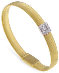 Marco Bicego 18K Gold Single-Strand Bracelet with Diamond Square