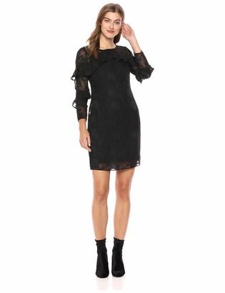 Nanette Lepore Women's Ls Clip Jacquard Shift Dress W/Ruffle Detail