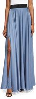 Milly Silk A-line Maxi Skirt, Denim