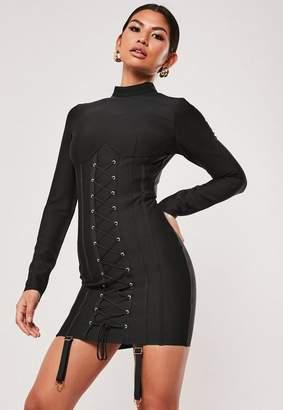 Missguided Premium Black Bandage Corset Hold Up Long Sleeve Mini Dress