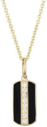 Sydney Evan Diamond, Black Enamel & 14K Yellow Dog Tag Pendant Necklace
