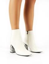 Public Desire Vesper Contrast Heeled Ankle Boots in White