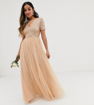 Maya Petite Bridesmaid V neck maxi dress with delicate sequin in soft peach