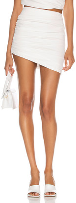 The Sei Gathered Asymmetric Mini Skirt in Ivory | FWRD