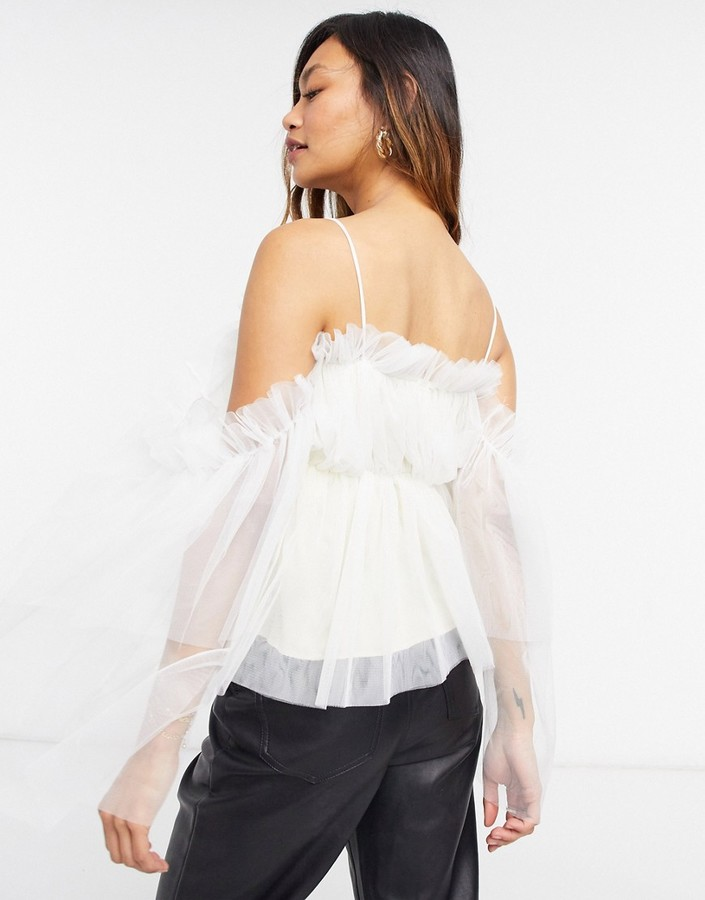 Thumbnail for your product : Forever U cold shoulder organza top in cream