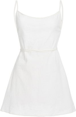 Anemos Back-Tied Linen and Cotton Mini Dress
