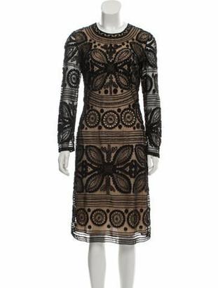 Naeem Khan Lace Three-Quarter Sleeve Dress Black