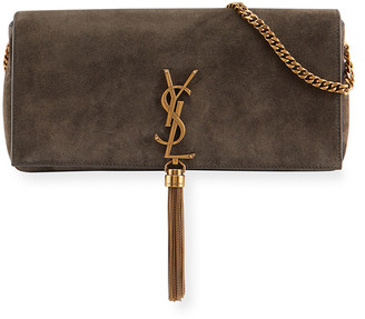 Saint Laurent Kate Monogram Suede Shoulder Bag w/ Tassel