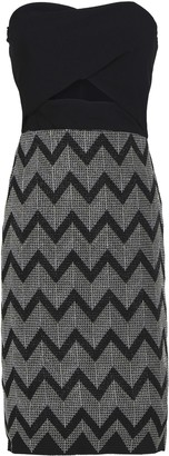 Black Halo Cutout Metallic Embroidered Crepe Dress