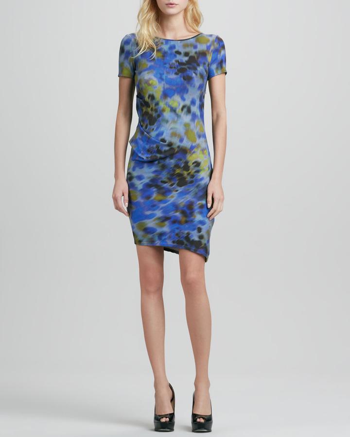 Halston Printed Side-Pleated Dress