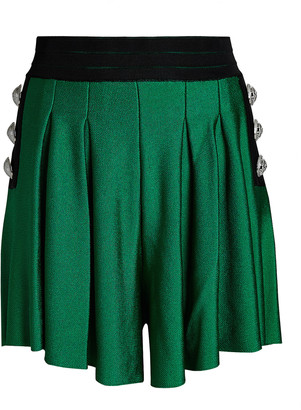 Balmain High-Rise Pleated Knit Shorts