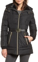 Vince Camuto Women's Belted Down & Feather Jacket With Faux Fur