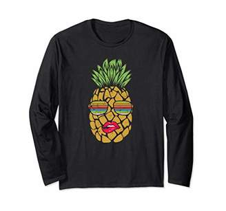 Pineapple Fruit With Sunglasses And Lips Cute Summer Beach Long Sleeve T-Shirt