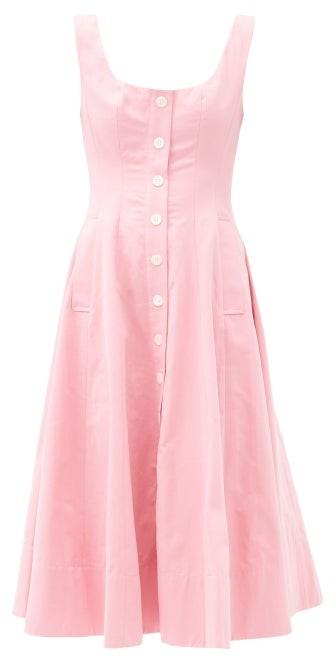 STAUD Loretta Square-neck Cotton-blend Dress - Pink