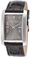Caravelle NY 45A134 Men's Black Leather Gunmetal Dial SS