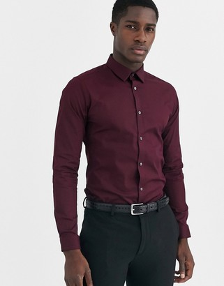 French Connection plain stretch skinny fit shirt-Red