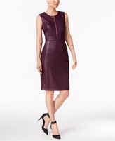 Calvin Klein Faux-Leather Sheath Dress