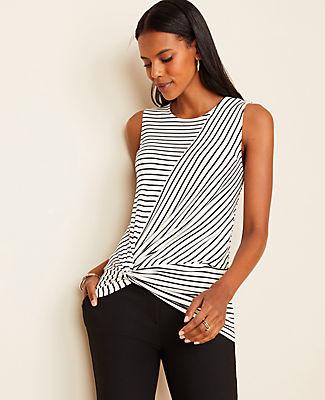 Ann Taylor Petite Stripe Twist Waist Shell