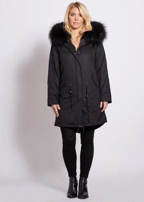 Popski London Popski London Black 3-4 Length Parka With Matching Raccoon Fur Collar