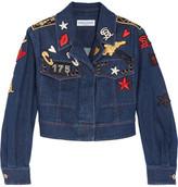 Sonia Rykiel Cropped Embroidered Stretch-denim Jacket - Blue