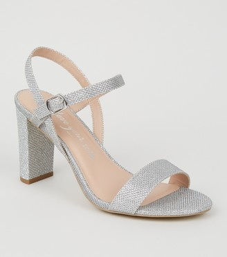 New Look Extra Wide Fit Glitter 2 Part Heels