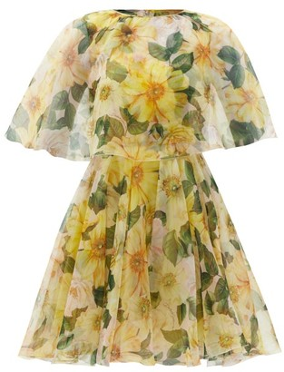 Dolce & Gabbana Caped Camellia-print Silk-organza Mini Dress - Yellow Print