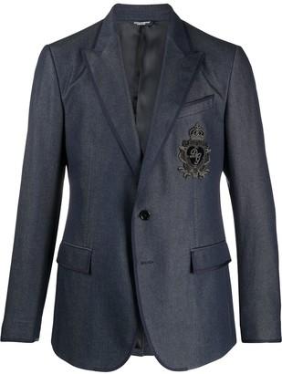 Dolce & Gabbana Embroidered Crest Logo Blazer