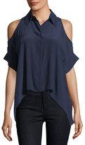 Alice + Olivia Edris Button-Front Cold-Shoulder Drapey Blouse