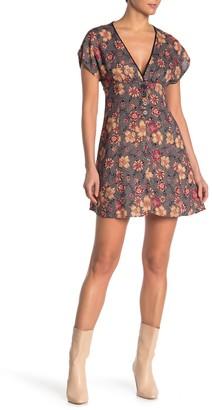 Angie Floral V-Neck Button Mini Dress