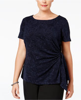 MSK Plus Size Glitter Jacquard Side-Tie Top