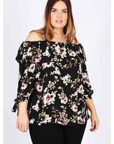 Koko Black Rose Print Bardot Top