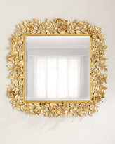 """Jay Strongwater Composition Floral Leaf Mirror, 42""""Sq."""