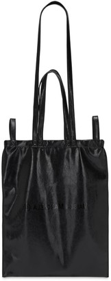 MM6 MAISON MARGIELA Berling Logo Print Faux Leather Tote Bag