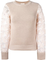 See by Chloe lace-sleeve sweater - women - Cotton - S