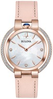 Bulova Women's Rubaiyat Diamond Rose Gold Pink Leather Strap Watch, 35mm - 0.21 ctw