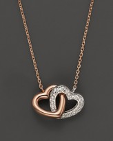 Bloomingdale's Diamond Interlocking Heart Pendant in 14K Rose and White Gold, .11 ct. t.w.