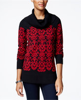 Charter Club Petite Cowl-Neck Damask Sweater, Only at Macy's