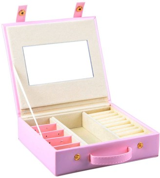 Small Faux Leather Jewellery Box Travel Storage Bag Organiser Display Case for Rings Earrings Necklace - Rose Gold