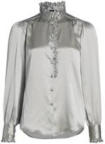 Marc Jacobs Runway Silk Ruffle Collar Polka Dot Blouse