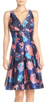 Aidan Mattox Floral Print Mikado Fit & Flare Dress