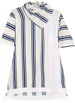 Sacai Striped Linen-blend And Slub Jersey T-shirt - White
